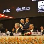Anil Ambani congratulates Shri narendra Modi at 6th Vibrant Gujarat Global Summit 2013- Mahatma Mandir, Gandhinagar