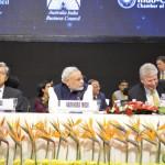 Shri Narendra Modi with Panel of Delegates at 6th Vibrant Gujarat Global Summit 2013- Mahatma Mandir, Gandhinagar