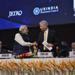Shri Narendra Modi with Stewart Beck at Vibrant Gujarat Global Summit Inauguration 2013- Mahatma Mandir, Gandhinagar