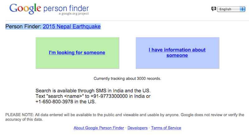 Person Finder: 2015 Nepal Earthquake